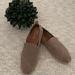 Tom's Taupe Suede Slip Ons Size 9.5 Like New